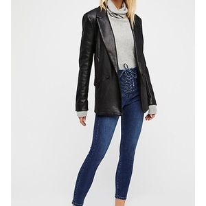 Free People High Waisted Lace Up Jeans